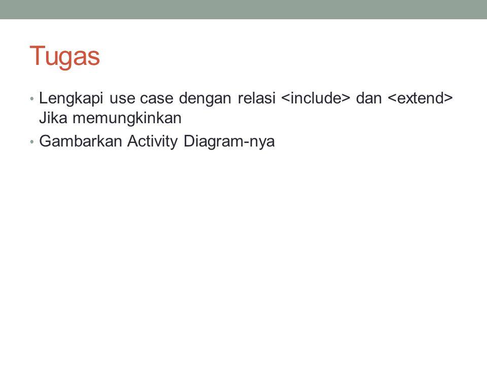 Tugas • Lengkapi use case dengan relasi dan Jika memungkinkan • Gambarkan Activity Diagram-nya