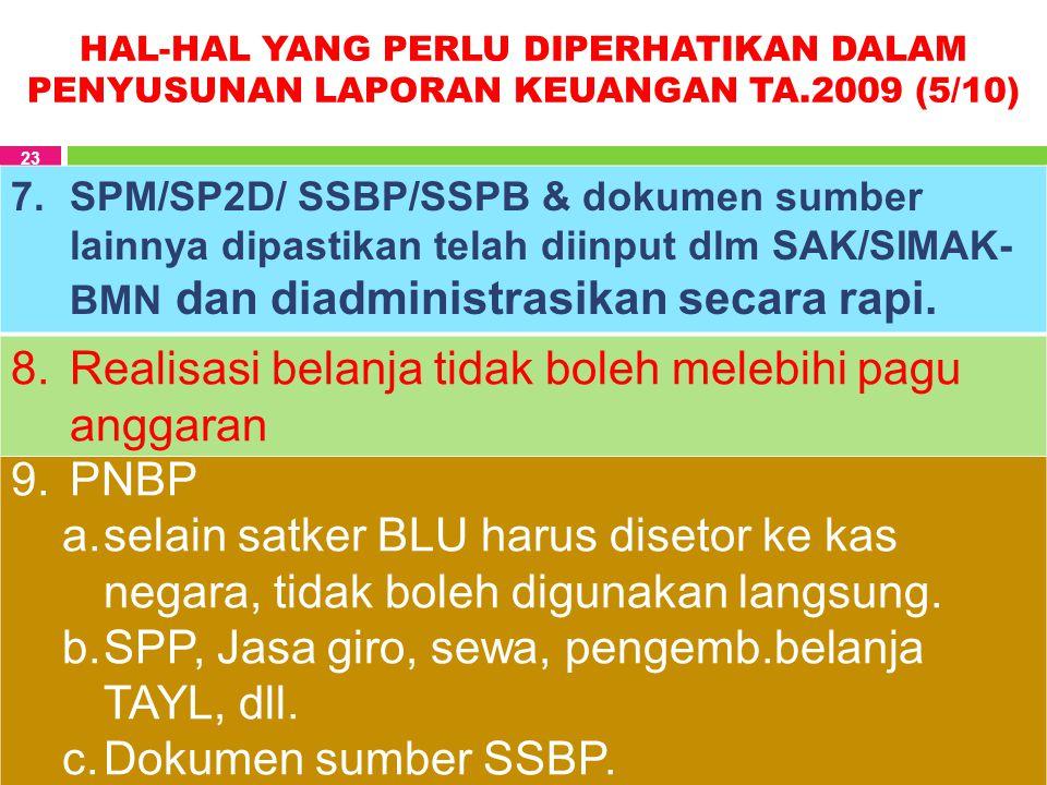 HAL-HAL YANG PERLU DIPERHATIKAN DALAM PENYUSUNAN LAPORAN KEUANGAN TA.2009 (5/10) 23 7.SPM/SP2D/ SSBP/SSPB & dokumen sumber lainnya dipastikan telah di