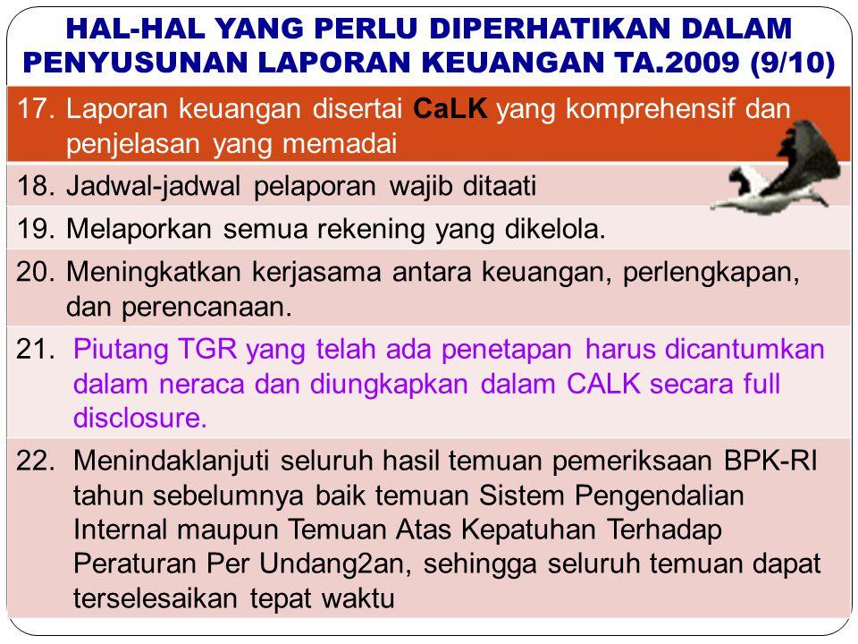 27 17.; HAL-HAL YANG PERLU DIPERHATIKAN DALAM PENYUSUNAN LAPORAN KEUANGAN TA.2009 (9/10) 17.Laporan keuangan disertai CaLK yang komprehensif dan penje