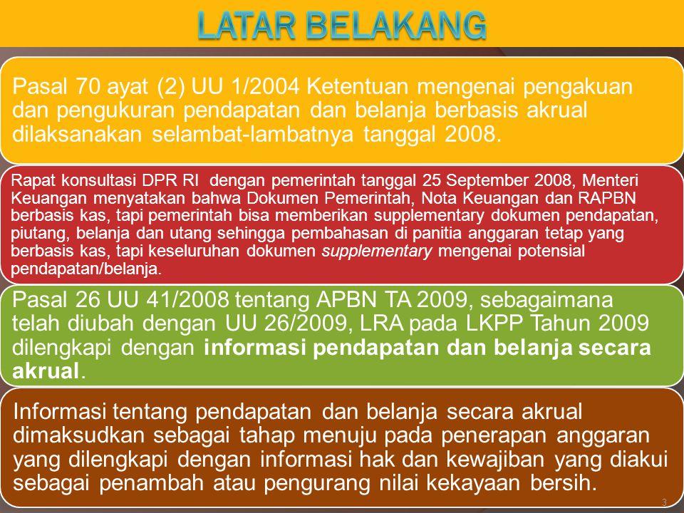 Pasal 70 ayat (2) UU 1/2004 Ketentuan mengenai pengakuan dan pengukuran pendapatan dan belanja berbasis akrual dilaksanakan selambat-lambatnya tanggal