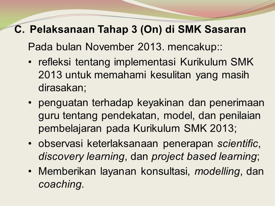 C.Pelaksanaan Tahap 3 (On) di SMK Sasaran Pada bulan November 2013. mencakup:: •refleksi tentang implementasi Kurikulum SMK 2013 untuk memahami kesuli