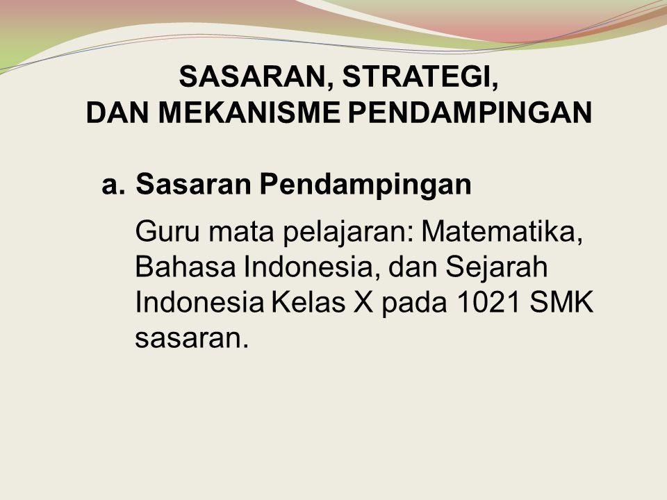 a.Sasaran Pendampingan Guru mata pelajaran: Matematika, Bahasa Indonesia, dan Sejarah Indonesia Kelas X pada 1021 SMK sasaran. SASARAN, STRATEGI, DAN