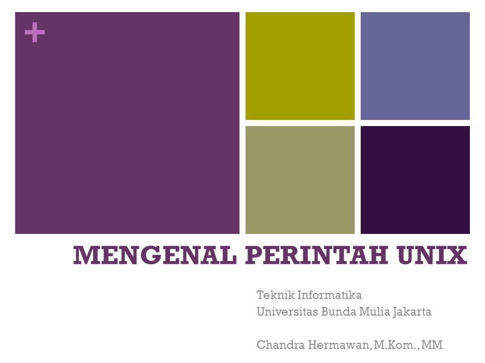 + MENGENAL PERINTAH UNIX Teknik Informatika Universitas Bunda Mulia Jakarta Chandra Hermawan, M.Kom., MM