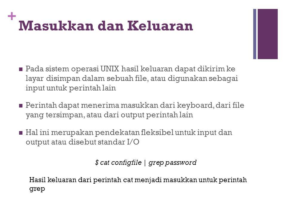 +  Pada sistem operasi UNIX hasil keluaran dapat dikirim ke layar disimpan dalam sebuah file, atau digunakan sebagai input untuk perintah lain  Peri