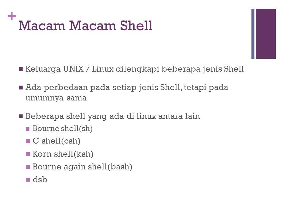 + Macam Macam Shell  Keluarga UNIX / Linux dilengkapi beberapa jenis Shell  Ada perbedaan pada setiap jenis Shell, tetapi pada umumnya sama  Bebera