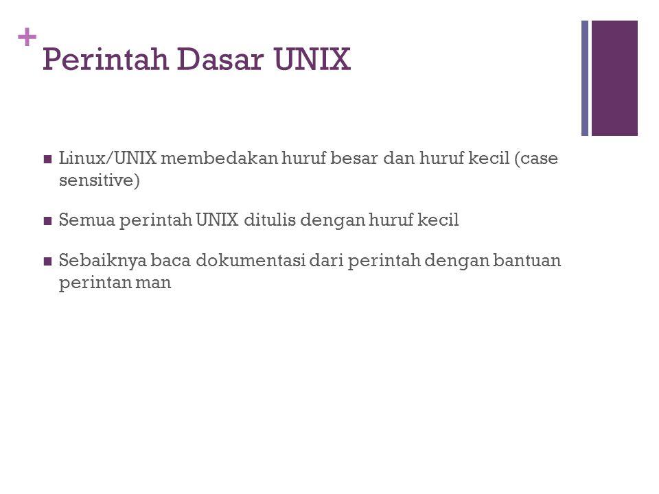 + Perintah Dasar UNIX  Linux/UNIX membedakan huruf besar dan huruf kecil (case sensitive)  Semua perintah UNIX ditulis dengan huruf kecil  Sebaikny