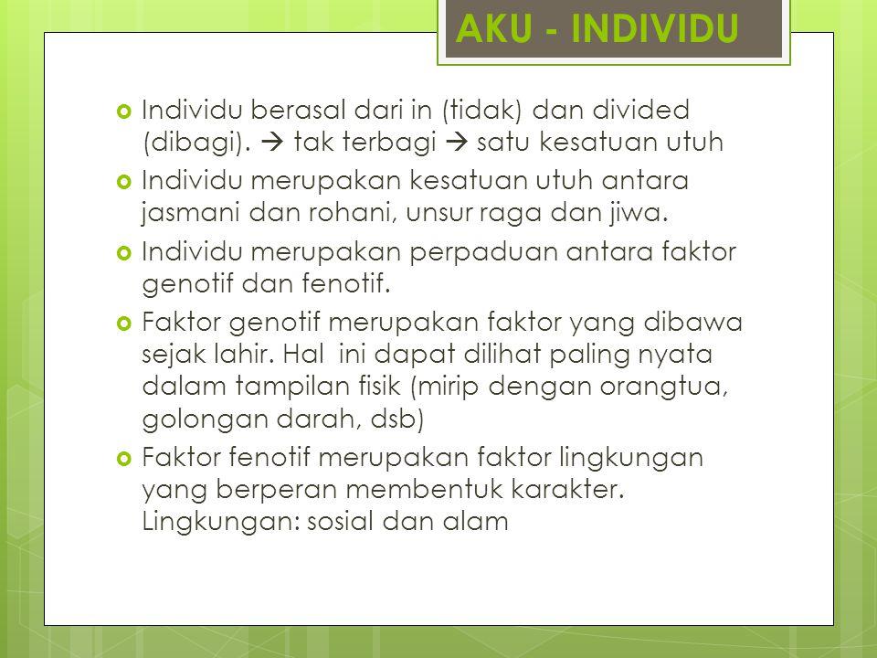 AKU - INDIVIDU  Individu berasal dari in (tidak) dan divided (dibagi).  tak terbagi  satu kesatuan utuh  Individu merupakan kesatuan utuh antara j