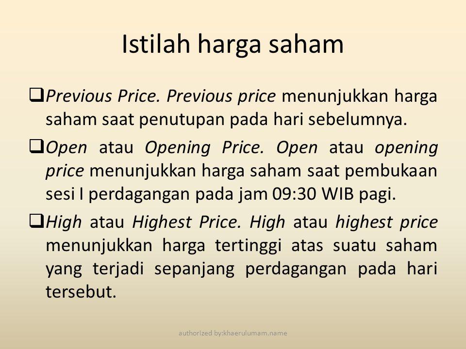 Istilah harga saham  Previous Price. Previous price menunjukkan harga saham saat penutupan pada hari sebelumnya.  Open atau Opening Price. Open atau