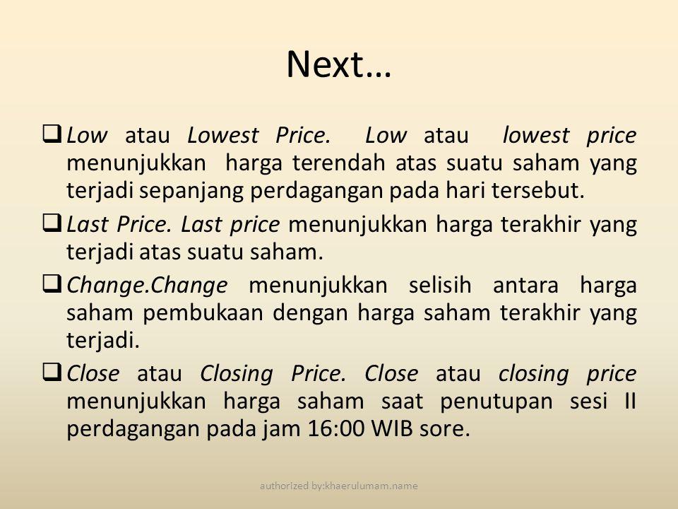 Next…  Low atau Lowest Price. Low atau lowest price menunjukkan harga terendah atas suatu saham yang terjadi sepanjang perdagangan pada hari tersebut
