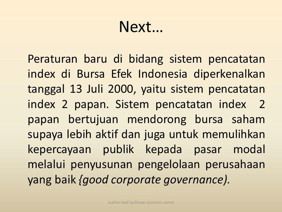 Next… Peraturan baru di bidang sistem pencatatan index di Bursa Efek Indonesia diperkenalkan tanggal 13 Juli 2000, yaitu sistem pencatatan index 2 pap