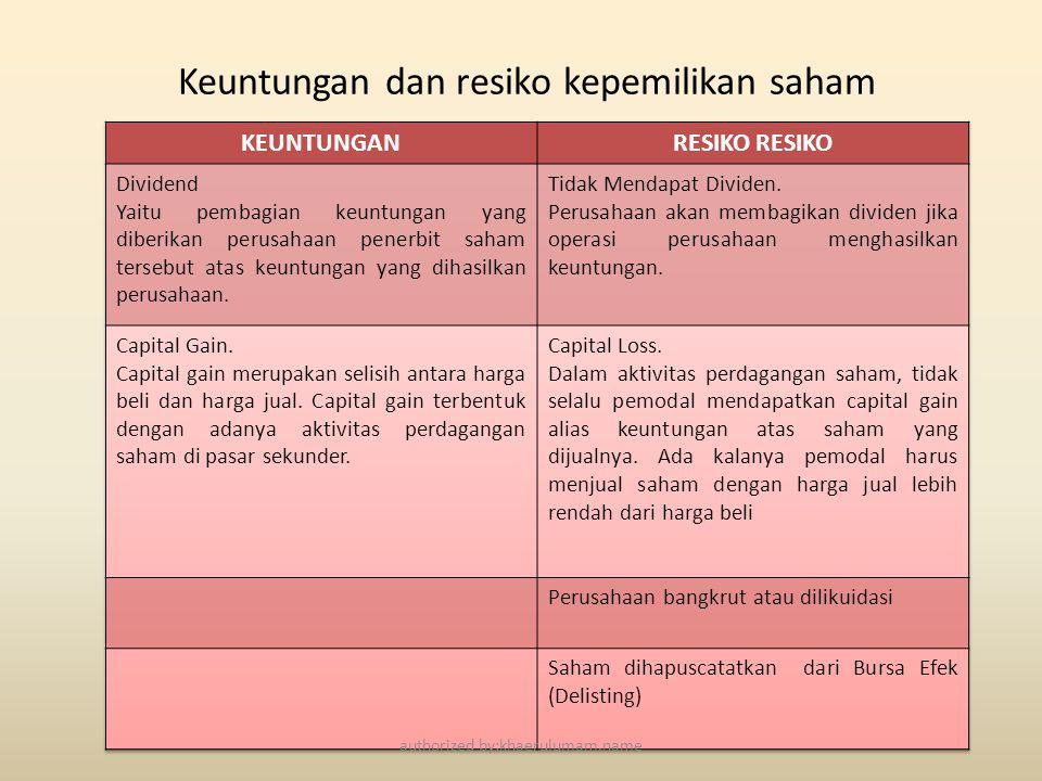 Keuntungan dan resiko kepemilikan saham authorized by:khaerulumam.name