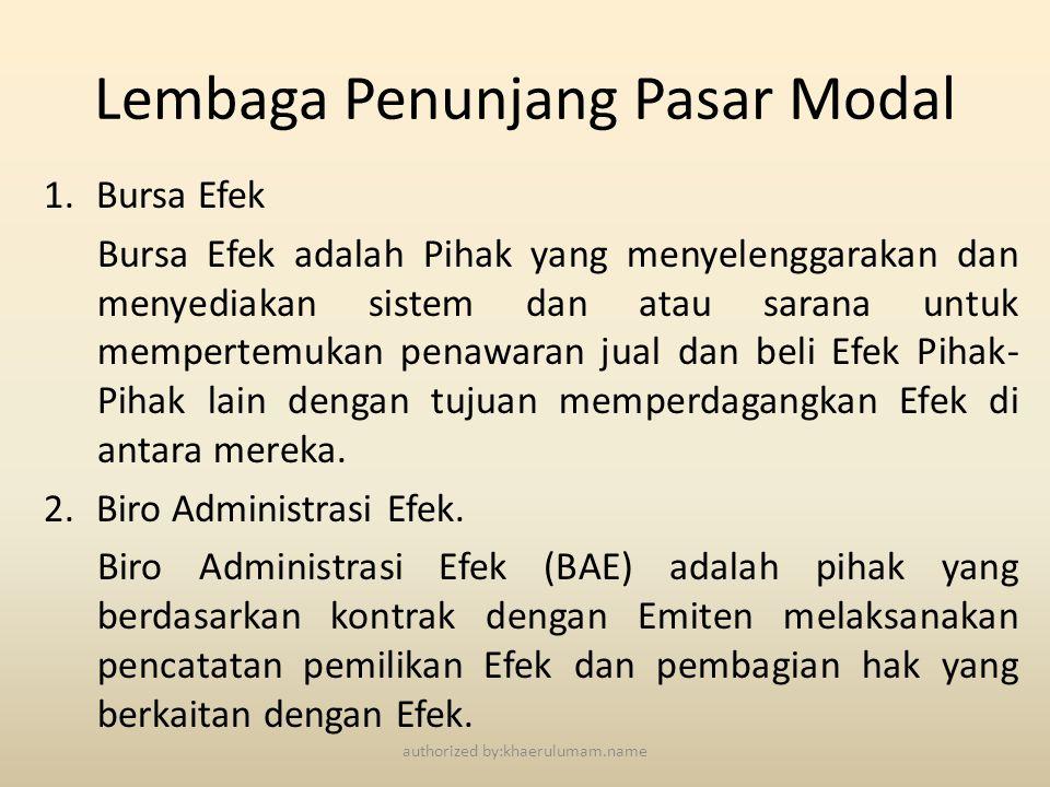 Lembaga Penunjang Pasar Modal 1.Bursa Efek Bursa Efek adalah Pihak yang menyelenggarakan dan menyediakan sistem dan atau sarana untuk mempertemukan pe