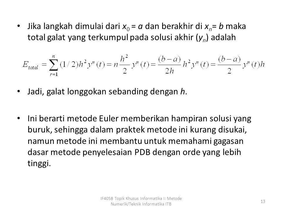 • Jika langkah dimulai dari x 0 = a dan berakhir di x n = b maka total galat yang terkumpul pada solusi akhir (y n ) adalah • Jadi, galat longgokan se