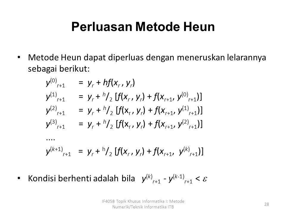 Perluasan Metode Heun • Metode Heun dapat diperluas dengan meneruskan lelarannya sebagai berikut: y (0) r+1 = y r + hf(x r, y r ) y (1) r+1 = y r + h