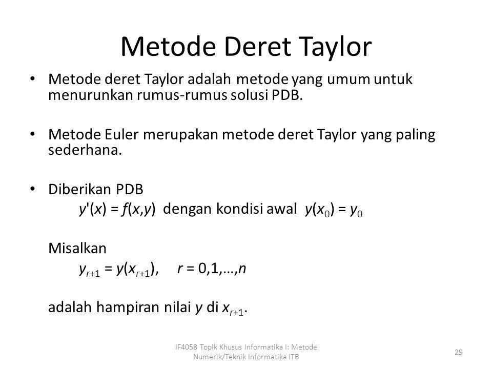 Metode Deret Taylor • Metode deret Taylor adalah metode yang umum untuk menurunkan rumus-rumus solusi PDB. • Metode Euler merupakan metode deret Taylo