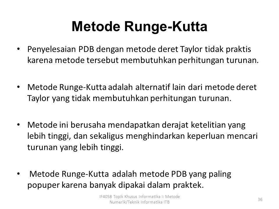 Metode Runge-Kutta • Penyelesaian PDB dengan metode deret Taylor tidak praktis karena metode tersebut membutuhkan perhitungan turunan. • Metode Runge-