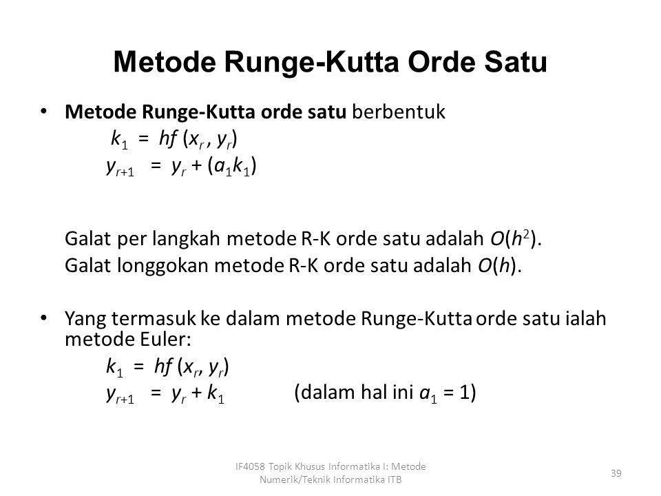 Metode Runge-Kutta Orde Satu • Metode Runge-Kutta orde satu berbentuk k 1 = hf (x r, y r ) y r+1 = y r + (a 1 k 1 ) Galat per langkah metode R-K orde
