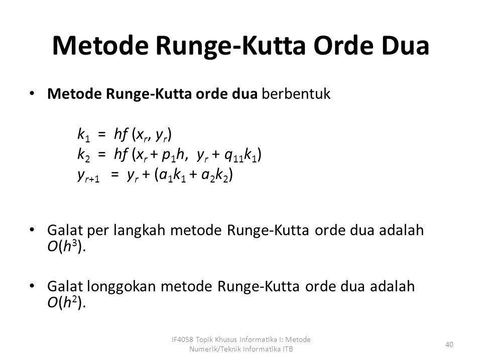 Metode Runge-Kutta Orde Dua • Metode Runge-Kutta orde dua berbentuk k 1 = hf (x r, y r ) k 2 = hf (x r + p 1 h, y r + q 11 k 1 ) y r+1 = y r + (a 1 k