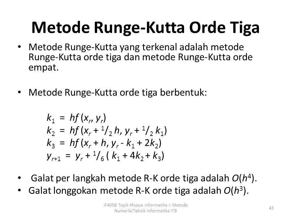 Metode Runge-Kutta Orde Tiga • Metode Runge-Kutta yang terkenal adalah metode Runge-Kutta orde tiga dan metode Runge-Kutta orde empat. • Metode Runge-