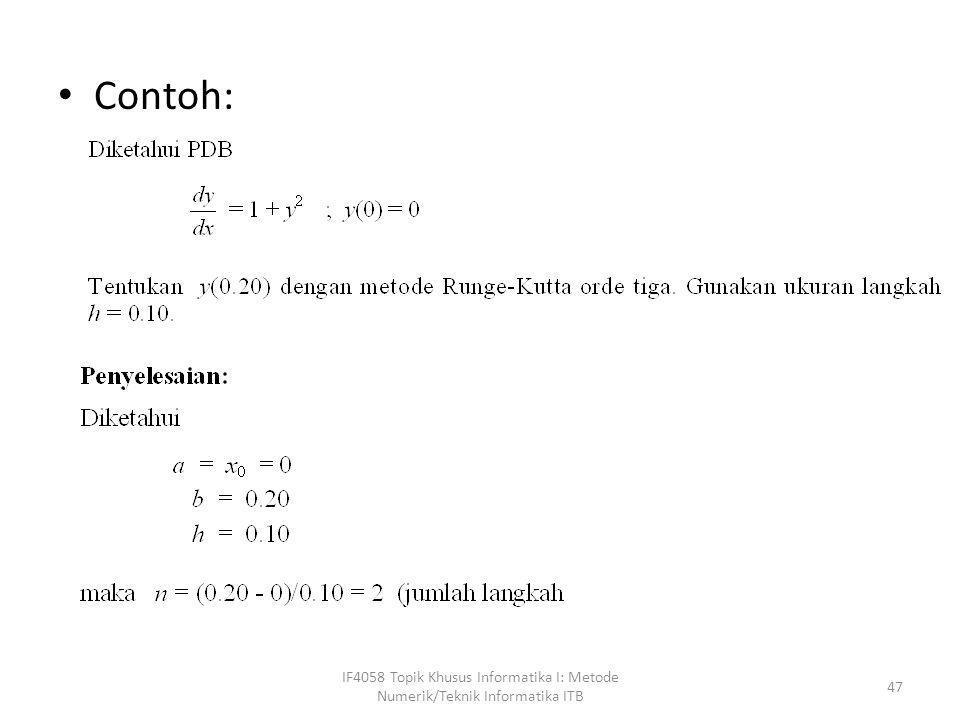 • Contoh: IF4058 Topik Khusus Informatika I: Metode Numerik/Teknik Informatika ITB 47