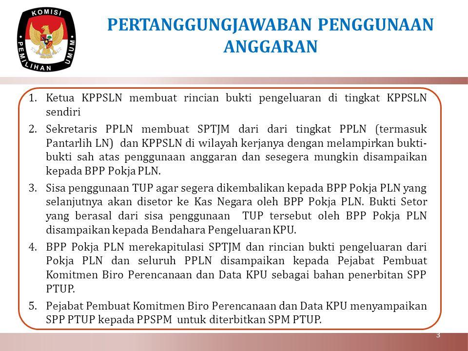 5.Bukti – bukti pengeluaran yang sah dari seluruh PPLN disimpan oleh Pejabat Pembuat Komitmen Biro Perencanaan dan Data KPU sebagai bahan kelengkapan administrasi pertanggungjawaban anggaran 6.Surat Tugas (ST) dan Surat Perjalanan Dinas (SPD) untuk perjalanan dinas di Luar Negeri ditandatangani oleh Sekretaris PPLN/Ketua KPPSLN.