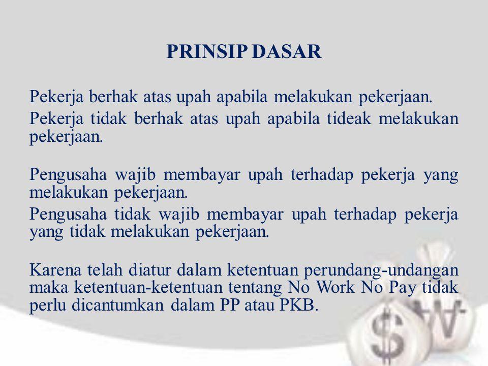 PRINSIP DASAR Pekerja berhak atas upah apabila melakukan pekerjaan. Pekerja tidak berhak atas upah apabila tideak melakukan pekerjaan. Pengusaha wajib