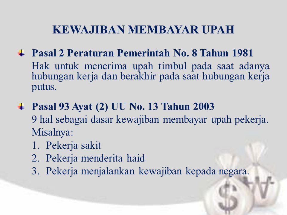 KEWAJIBAN MEMBAYAR UPAH Pasal 2 Peraturan Pemerintah No. 8 Tahun 1981 Hak untuk menerima upah timbul pada saat adanya hubungan kerja dan berakhir pada