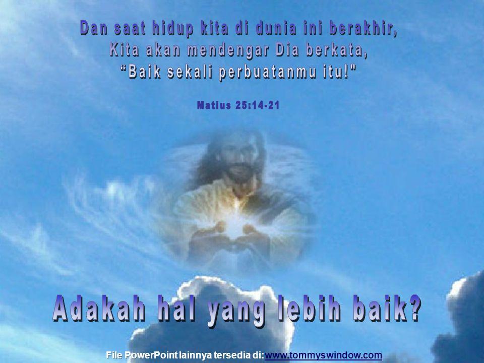 Fokuskan diri pada tujuan itu, dan Tuhan akan memberikan tidak hanya hadiah utama-nya, malah Dia akan menambahkan berkat-berkat sepanjang hidup kita.