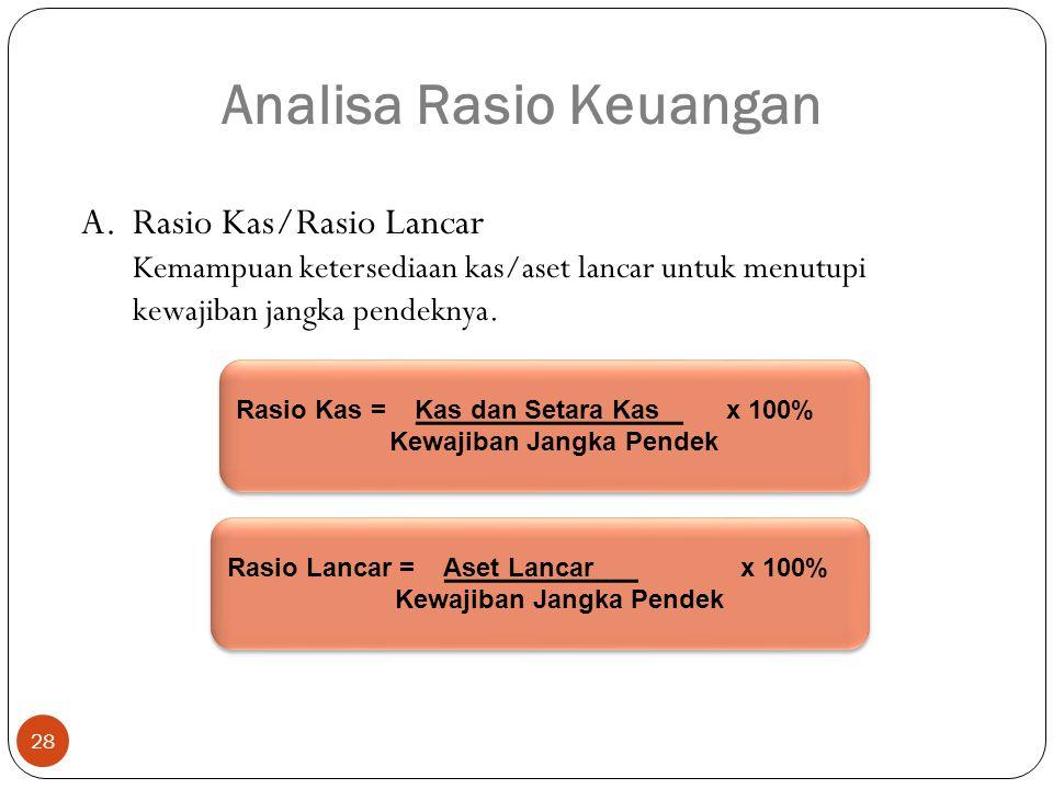 28 A.Rasio Kas/Rasio Lancar Kemampuan ketersediaan kas/aset lancar untuk menutupi kewajiban jangka pendeknya.