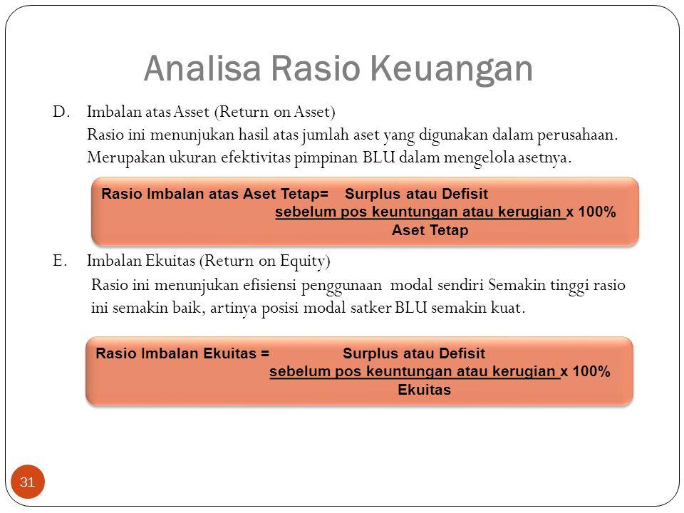 31 Analisa Rasio Keuangan D.Imbalan atas Asset (Return on Asset) Rasio ini menunjukan hasil atas jumlah aset yang digunakan dalam perusahaan.