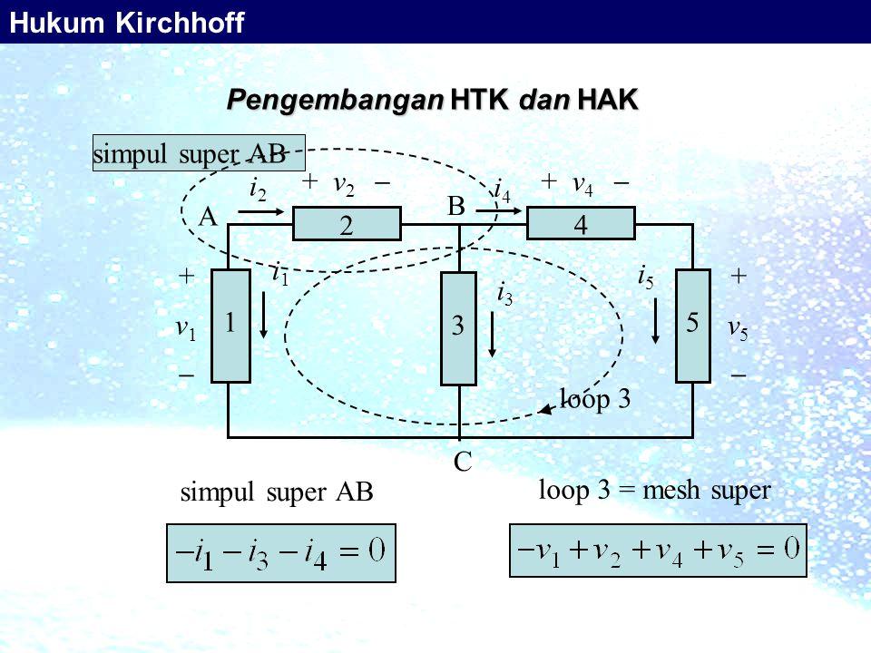 Pengembangan HTK dan HAK simpul super AB loop 3 = mesh super simpul super AB + v 4  i2i2 i4i4 + v 2  i1i1 A B C 4 2 5 3 1 +v5+v5 i3i3 i5i5 +v1+v1