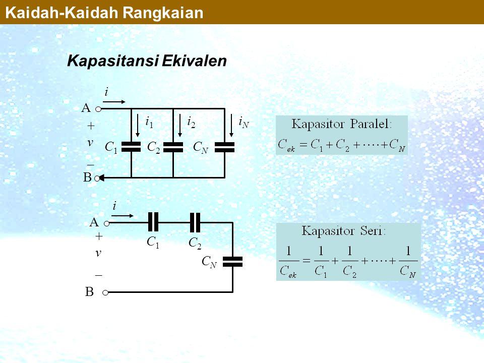 Kapasitansi Ekivalen C1C1 i1i1 C2C2 i2i2 CNCN iNiN B A + v _ i Kaidah-Kaidah Rangkaian C1C1 C2C2 CNCN B A + v _ i