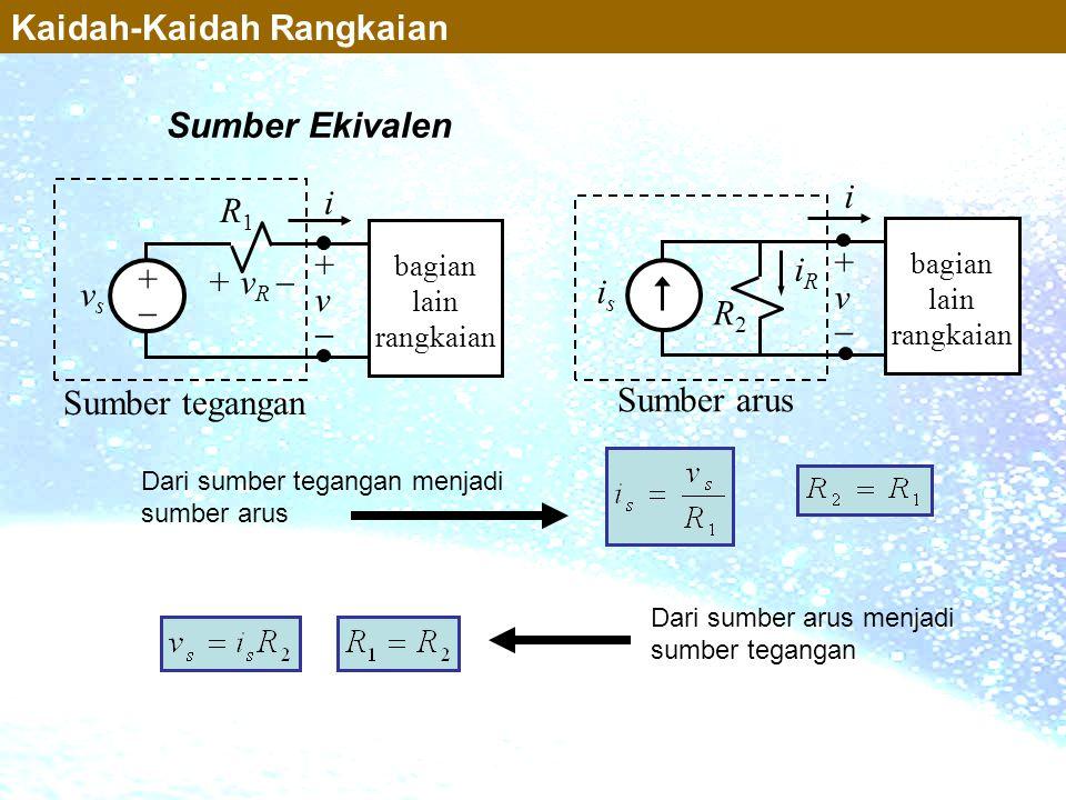 Sumber Ekivalen Kaidah-Kaidah Rangkaian Sumber tegangan vsvs R1R1 i +v+v + v R  bagian lain rangkaian ++ Sumber arus isis R2R2 i +v+v bagian la