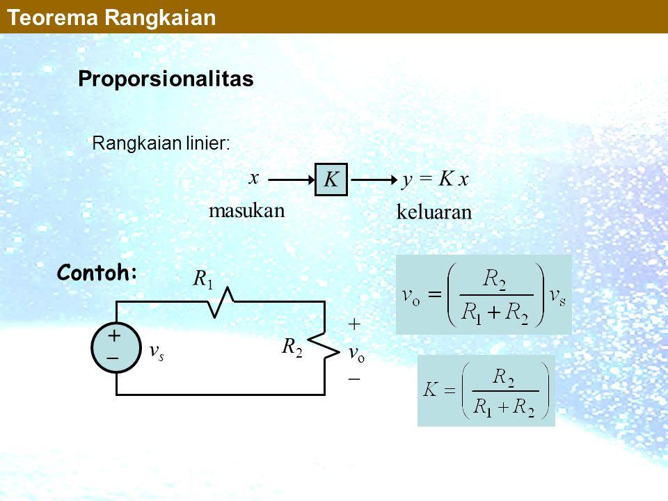 Proporsionalitas K x y = K x masukan keluaran +vo+vo vsvs R1R1 R2R2 + _ Teorema Rangkaian Rangkaian linier: Contoh: