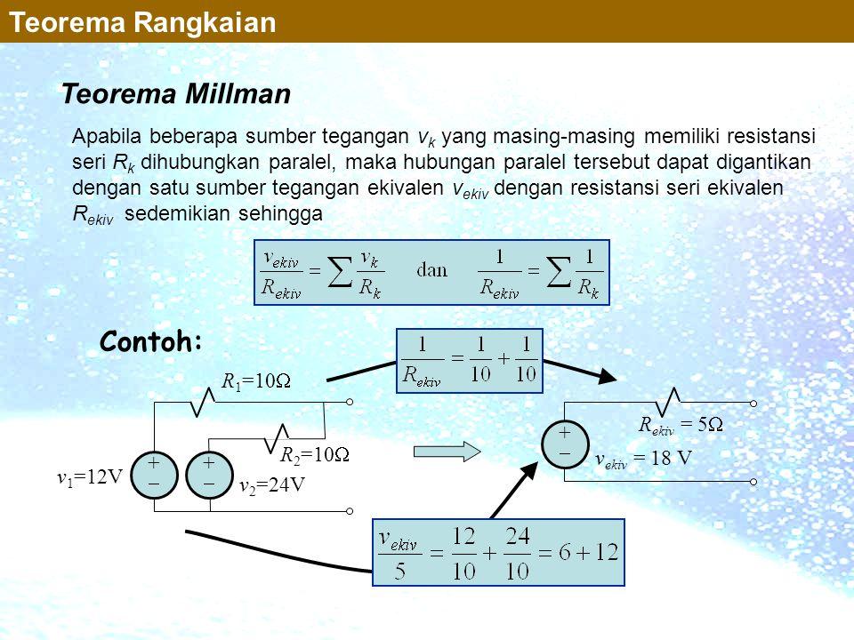 Teorema Millman Teorema Rangkaian Apabila beberapa sumber tegangan v k yang masing-masing memiliki resistansi seri R k dihubungkan paralel, maka hubun
