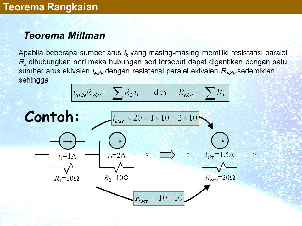 Teorema Millman Teorema Rangkaian Apabila beberapa sumber arus i k yang masing-masing memiliki resistansi paralel R k dihubungkan seri maka hubungan s