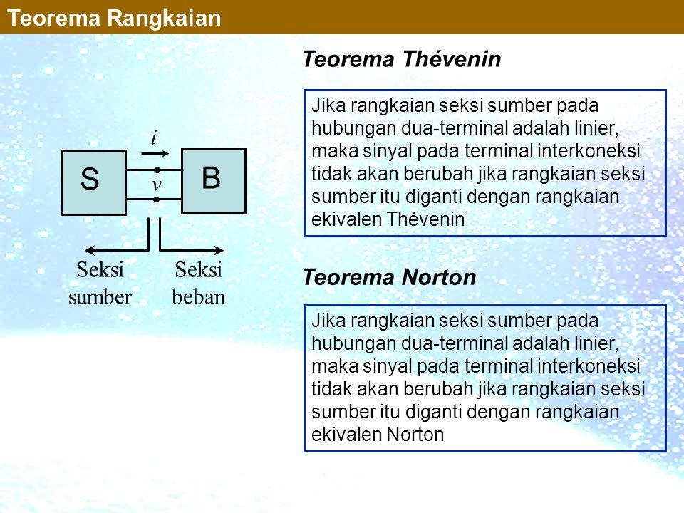 Teorema Norton Jika rangkaian seksi sumber pada hubungan dua-terminal adalah linier, maka sinyal pada terminal interkoneksi tidak akan berubah jika ra