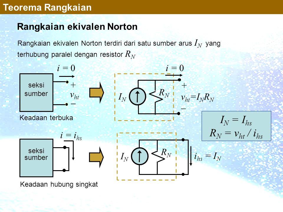 Rangkaian ekivalen Norton terdiri dari satu sumber arus I N yang terhubung paralel dengan resistor R N Rangkaian ekivalen Norton Teorema Rangkaian i =