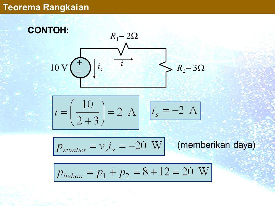 10 V R 1 = 2  R 2 = 3  + _ i isis (memberikan daya) Teorema Rangkaian CONTOH: