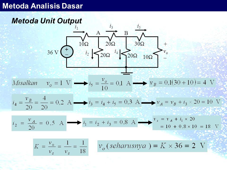 Metoda Unit Output 10  36 V ++ 20  30  20  10  20  i1i1 i3i3 i5i5 i2i2 i4i4 +vo+vo A B Metoda Analisis Dasar