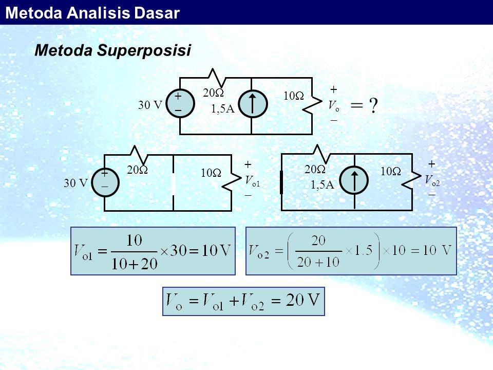 Metoda Superposisi 30 V +  +  20  10  + V o1  1,5A 20  + V o2  10  30 V + _ 1,5A 20  10  +Vo+Vo = ? Metoda Analisis Dasar