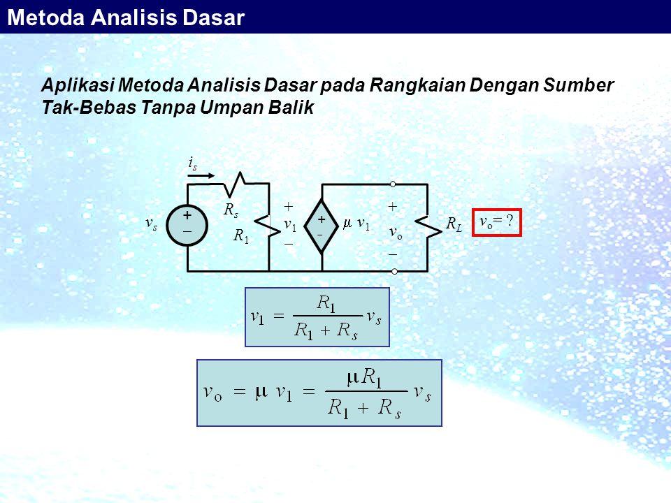 Aplikasi Metoda Analisis Dasar pada Rangkaian Dengan Sumber Tak-Bebas Tanpa Umpan Balik RsRs ++ ++ +   v1  v1 RLRL + v 1  vsvs i s R1R1 v o =