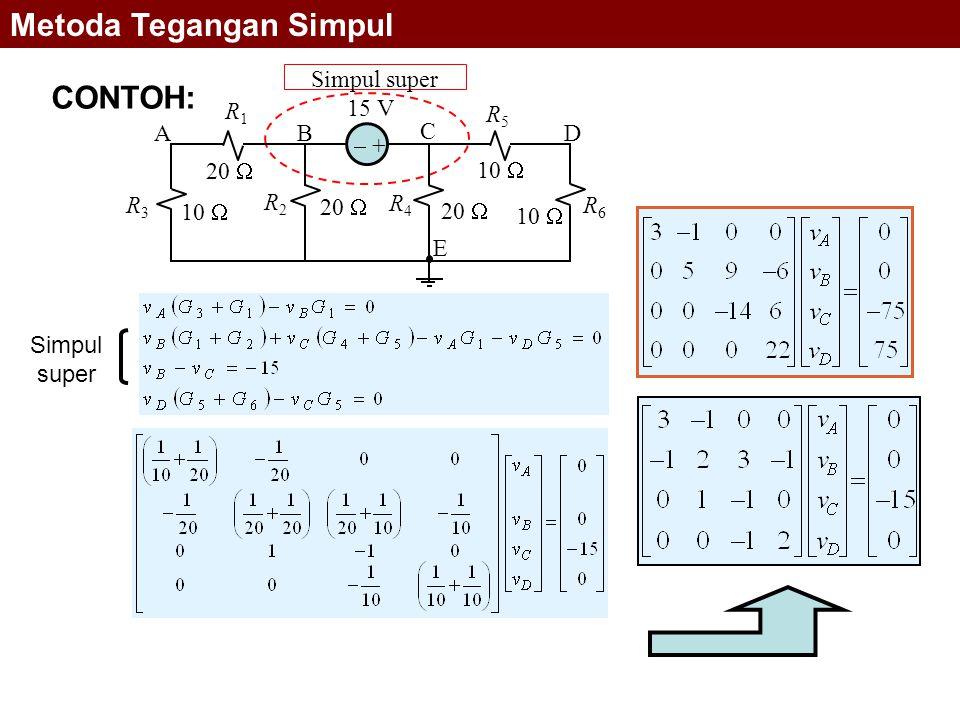 Simpul super Simpul super 10  15 V 20  10  20  10  R1R1 R2R2 R4R4 R5R5 AB C D E R6R6 R3R3  + Metoda Tegangan Simpul CONTOH: