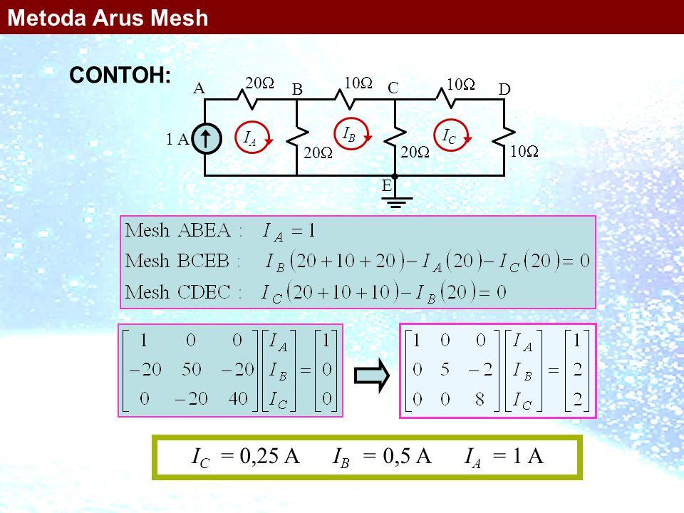 10  1 A 20  10  20  10  A B C D E IAIA IBIB ICIC I C = 0,25 A I B = 0,5 A I A = 1 A Metoda Arus Mesh CONTOH: