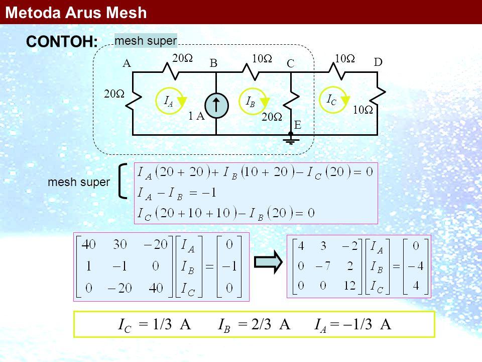 mesh super 10  1 A 20  10  20  10  AB C D E IAIA IBIB ICIC mesh super I C = 1/3 A I B = 2/3 A I A =  1/3 A Metoda Arus Mesh CONTOH: