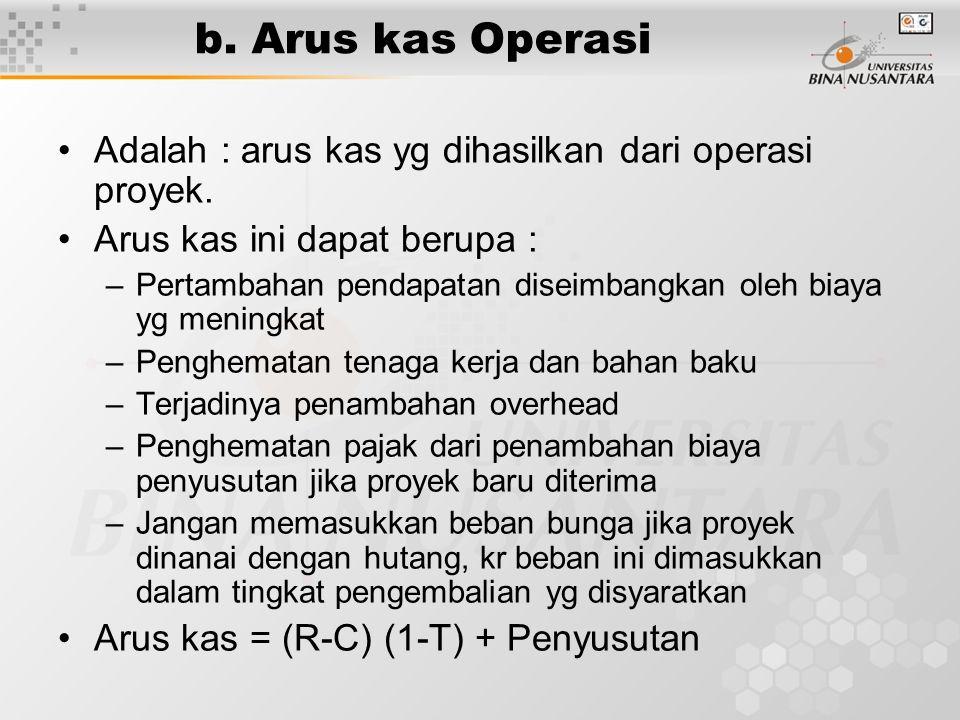 b. Arus kas Operasi •Adalah : arus kas yg dihasilkan dari operasi proyek. •Arus kas ini dapat berupa : –Pertambahan pendapatan diseimbangkan oleh biay