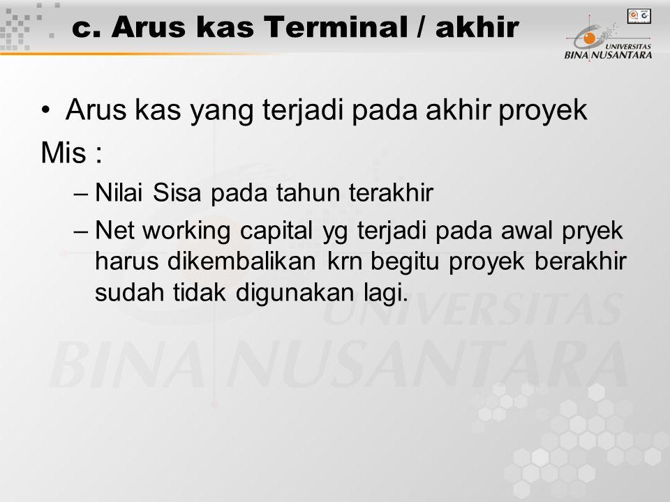 c. Arus kas Terminal / akhir •Arus kas yang terjadi pada akhir proyek Mis : –Nilai Sisa pada tahun terakhir –Net working capital yg terjadi pada awal