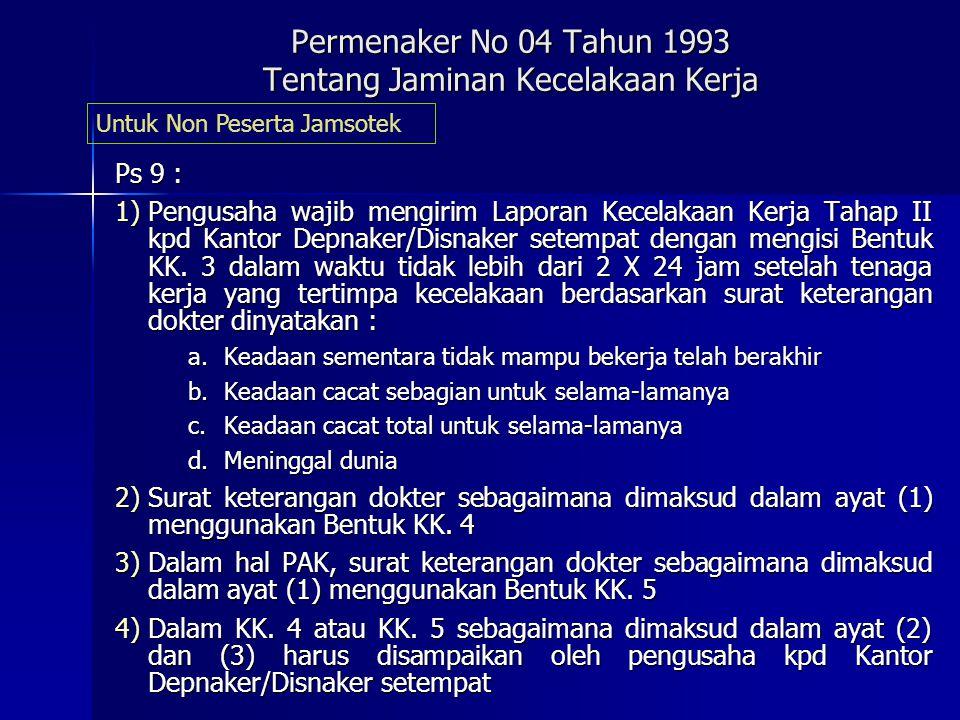 Permenaker No 04 Tahun 1993 Tentang Jaminan Kecelakaan Kerja Ps 6 :  Pengusaha wajib membuat daftar Perusahaan Wajib Bayar Jaminan Kecelakaan Kerja d