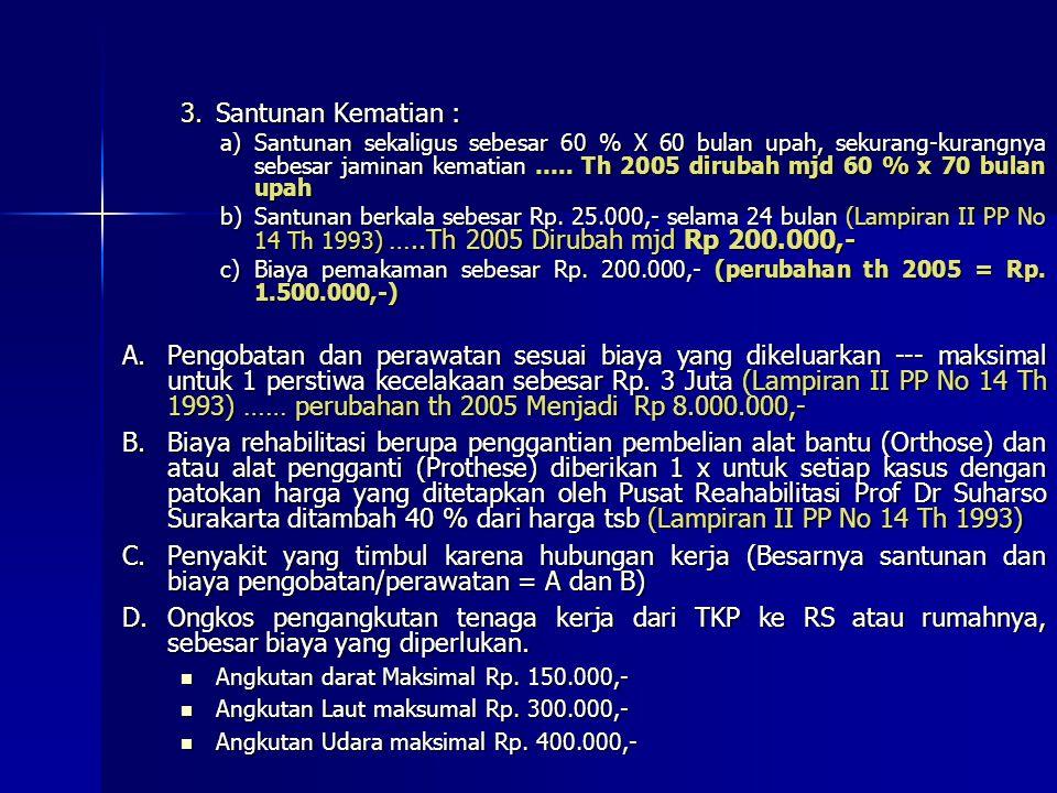 Lampiran : 1. PP No. 14 Tahun 1993 (Tentang Penyelenggaraan Jamsostek) 2. Permenaker No 04 Tahun 1993 (Tentang Jaminan Kecelakaan Kerja) I.BESARNYA JA