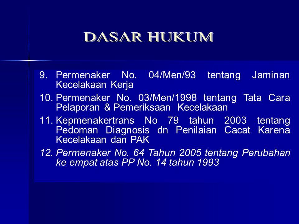 1. UU No. 1 Tahun 1970 tentang Keselamatan Kerja 2.UU No. 3 Tahun 1992 ttg Jamsostek 3.PP No. 14 Tahun 1993 tentang Penyelenggaraan Jamsostek 4.Keppre